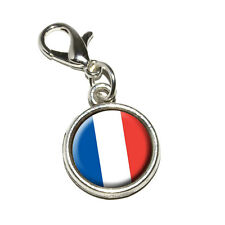 France French Flag - Antiqued Bracelet Pendant Charm with Lobster Clasp