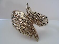 NWT Auth Betsey Johnson Heaven Sent Angel Wings Hinged Cuff Statement Bracelet