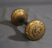 """Pair 1890's Old Colony Building Chicago Cast Brass 2.25"""" Yale & Towne Doorknobs"""