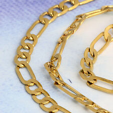 24 inches Gold Plated Figaro Curb Chain Necklace No Stone Hot Chain.Link korean