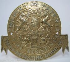 Antique Milners Fire-Resisting Thief-Resisting Brass Safe Plaque Sign ornate