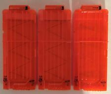 Nerf N-STRIKE Elite 12 Round Clips Magazines Translucent Orange Lot of 3