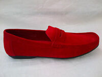 Mens Apogee London Slip On Suede Loafer Fashion Shoe, Red, 360-3 Sizes 6-11