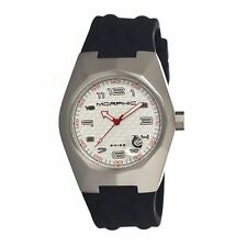 NEW Morphic MPH3201 Mens M32 Silver Tonneau White Dial Black Sillicone Watch hot