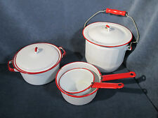 Enamel Pots Pans Vintage Cookware White Red Trim Lids Camping RVing Set of 6