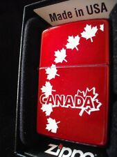 ZIPPO LIGHTER CANADA MAPLE LEAVES CANDY APPLE RED CANADIAN SOUVENIR GIFT BOX