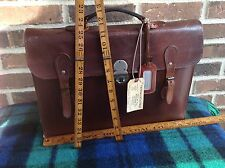 VINTAGE 1940`s HEIRLOOM QUALITY BROWN SADDLE LEATHER BRIEFCASE BAG R$895