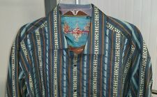 Robert Graham Multi Color Striped Southwestern Aztec Men's Flip Cuff Shirt 2XL