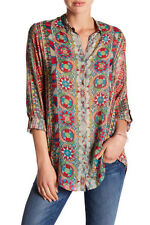 $210 NWT Johnny Was Rayon Button-Down Rosetto Blouse Tunic Sz S 6 8 Long Sleeve