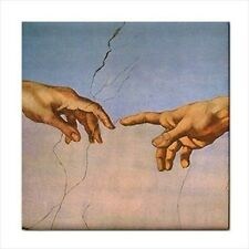 Creation Of Adam Detail Michelangelo Art Ceramic Tile