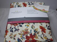 New Threshold Floral Twin Flannel Sheet Set ~ Fall Flower Rust Cream Teal NIP