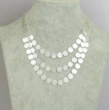 Art Deco style three layers silver frosted circle chandelier necklace