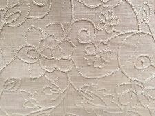 AWESOME P KAUFMANN ISLAND EASE DUNE BEIGE EMBROIDERED LINEN FABRIC OUTLET BTY