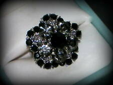 BLACK CRYSTAL SILVER FLOWER RING WEDDING BRIDESMAIDS GIFT ADJUSTABLE SZ 7/8/9/10