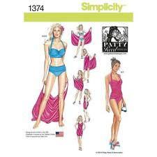 SIMPLICITY Sewing Pattern Miss Women Plus Swimsuit+Beach Cover Up~1374 Sz 16-24