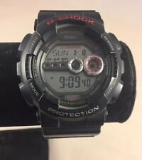 Nice Casio GD-100 G-Shock Digital chrono Dive Watch Black Red World Time