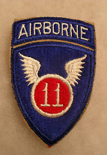 WWII 1 PIECE 11TH ABN DIV EMB NO GLOW TAN TWILL BETWEEN PATCH & TAB