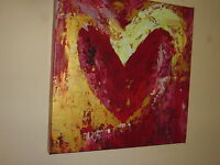 Red Heart Gold leaf Oil Painting 20x20 not a poster or print. Heavy oil pallet