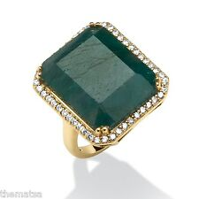 18K GOLD OVER STERLING SILVER EMERALD CUT GREEN SAPPHIRE RING SIZE 6 7 8 9 10