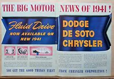 1940 double page magazine ad for Chrysler - Fluid Drive now Available 1941 cars