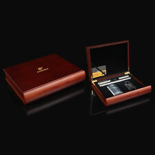 COHIBA Red Sandal Wood Lined Cigar Humidor Cutter Lighter 2 Metal Tube Set