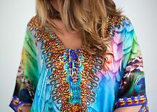 Kaftan dress, embellished Viscose ocean inspired print beautiful lace up kaftan