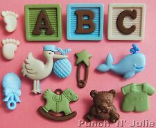 BABY BOY NEW ARRIVAL - Clothes Whale Rattle Feet Teddy Dress It Up Craft Buttons