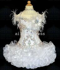 White Feather Cupcakes Toddler little Infant Girls STATENATIONAL Pageant Dresses