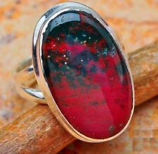 anillo jaspe sanguíneo plata 925 talla 16 BLOOD JASPER .925 STERLING SILVER RING