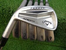 LH CALLAWAY APEX PRO IRON SET 5-PW KBS TOUR-V 110 STIFF STEEL USED LEFT HANDED