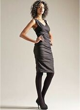 $318 NWT EILEEN FISHER Cotton Steel Stitch Wrap Front BLACK Ruched Dress 8