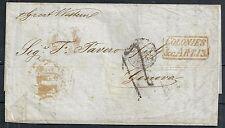 Brazil 1854 folded cover Rio de Janeiro to Genova