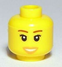 LEGO - Minifig, Head Female, Peach Lips, Open Mouth Smile & Brown Eyebrows