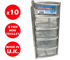 10 x 5 DRAWER SILVER TOWER UNIT -PLASTIC DRAWERS -STORAGE ORGANIZER - MINI/SMALL