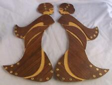 2 ART NOUVEAU STYLE WOODEN LADIES WITH NAIL HEAD EMBELISHMENTS
