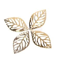 Lot 100 Gold Plated Metal Tree Leaf Leaves Charms DIY Jewelry Craft Findings