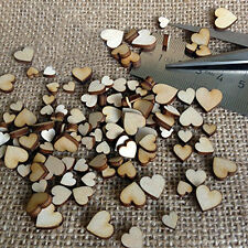 100 Pcs 4 sizes Wooden Love Heart Buttons DIY Scrapbooking Craft Embellishment