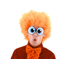 Orange Fuzzy Afro Funny Wig Adult Halloween Costume Accessory