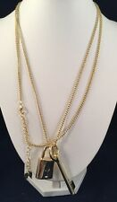 VICTORIA'S SECRET Gold-tone Scandalous Lock and Key Pendent Necklace 40""
