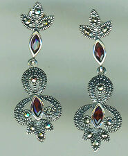 925 Sterling Silver Garnet & Marcasite Drop / Dangle Earrings  Length 1.1/2""