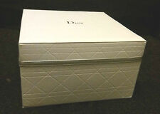 CDIOR J'ADORE Large Leather Like White Jewel /Makeup Vanity Box W/ Silver Ribbon