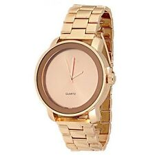 Rose Gold Watch Designer Classy Fashion Unisex Geneva Metal Band Women