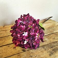 Plum/Purple Faux Silk Hydrangea, Individual Realistic Artificial Flower