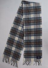 JOHNSTONS 100% Lambswool Blue Plaid Fringed Scarf Made In Scotland Mens Womens