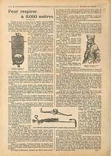 ARTICLE COMPLET Appareil Respiratoire Aviation Luftstreitkräfte War 1918 WWI