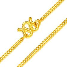 Authentic Pure 24k Yellow Gold Necklace Classic Cuban Link Chain 17 inch