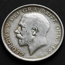 1917 George V Silver Half Crown - Lower Mintage Year Coin - GF / AVF