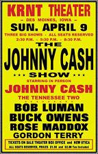 Johnny Cash 1950's Concert Poster - Des Moines Buck Owens