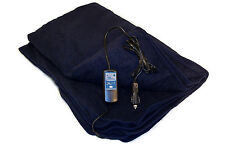 12 Volt 100% Fleece Navy Heated Travel Blanket! Electric Throw Car Truck RV Van