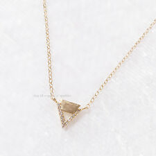 *VERY RARE* $180 BHLDN 14K GOLD TRIANGLE PAVE CRYSTAL NECKLACE ANTHROPOLOGIE